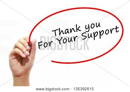 Man Hand writing Thank you For Your Support with marker on transparent wipe board. Business, internet, technology concept.
