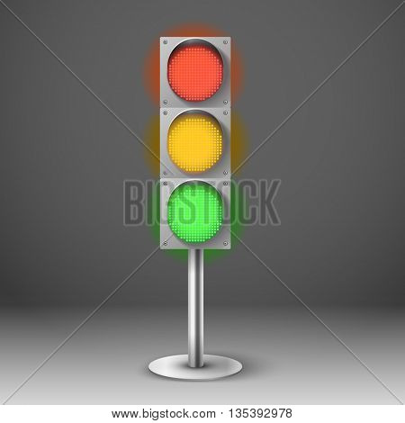 Traffic light vector illustration. Red yellow and green diod traffic light. Template 