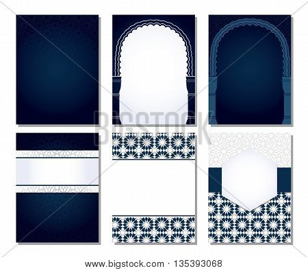 Banners set of templates with classic arabic ornament.