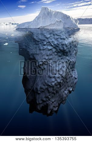 iceberg with underwater view taken in greenland 3d illustration