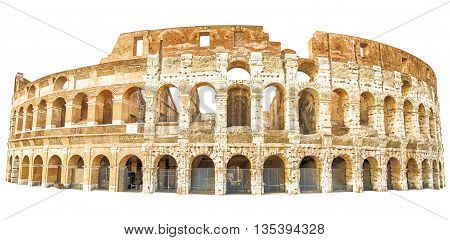 The Coliseum , Colosseum, Flavian Amphitheatre, in Rome city in Italy. Isolated on white background