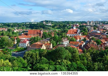Beautiful view from observation deck of Mount Gediminas on Prechistenskiy Cathedral and Catholic church of St. Anne Vilnius Lithuania