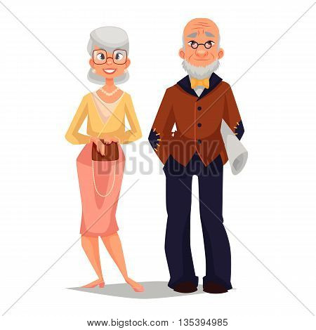 elderly couple man and woman, vector comic cartoon illustration isolated on white background, beautiful thin and well-groomed old man and an old woman, a happy elderly couple grandparents