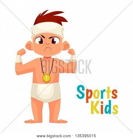 baby diapers winner cartoon comic vector illustration isolated on white background baby in diapers won and won first place, mans strength and courage, strong face the winner