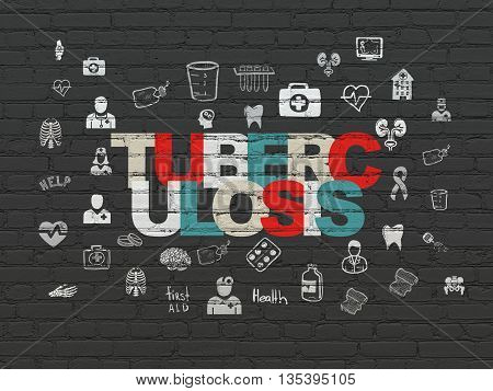 Health concept: Painted multicolor text Tuberculosis on Black Brick wall background with  Hand Drawn Medicine Icons
