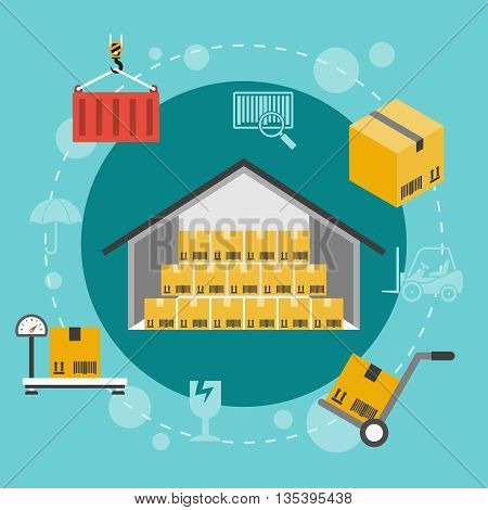 Warehouse flat illustration. Set of storage flat icons