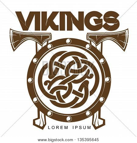 Viking Battle shield with axes, vector illustration of a simple logo isolated on white background, logo Scandinavian wooden combat shield with axes, Scandinavian design celtic logo