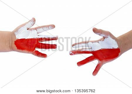 Childrens hands painted Polish flag -white and red. Isolated on white