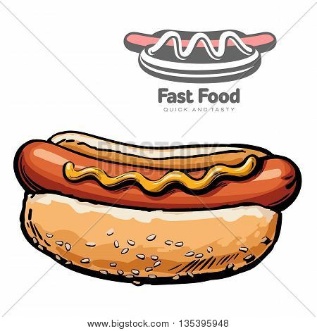 set of illustrations and logo hot dog vector illustration sketch drawn by hand, isolated on a white background, sketch hot dog closeup hot dog and logo design for business, fast food industry