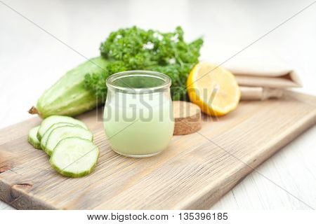 cosmetics from cucumber, lemon, parsley and water