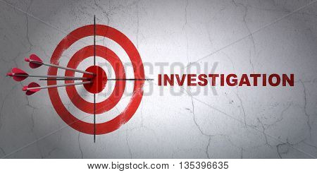 Success Science concept: arrows hitting the center of target, Red Investigation on wall background, 3D rendering