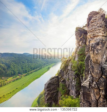 National Saxon Switzerland park viewpoint with river below
