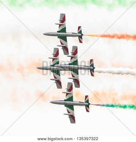 Leeuwarden, The Netherlands-june 11, 2016: Italian Aerobatic Team Frecce Tricolori (tricolor Arrows)