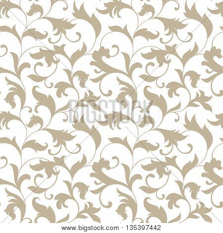 Elegant Seamless Pattern. Tracery Of Twisted Stalks With Decorative Leaves On A White Background. Vi