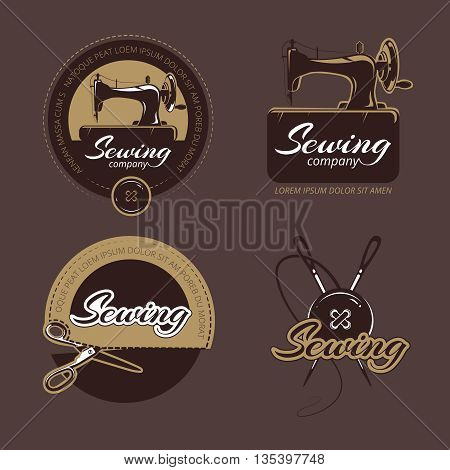 Retro sewing and tailoring vector logo, labels and badges set. Logo sewing craft, handmade sewing, sewing hobby label, workshop sewing, machine sew illustration