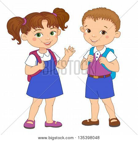 Boy and girl with backpacks pupil stay cartoon school isolated vector