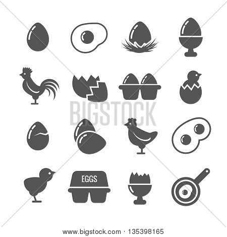 Egg vector icons. Egg food, breakfast egg, animal egg chicken,  shell egg illustration