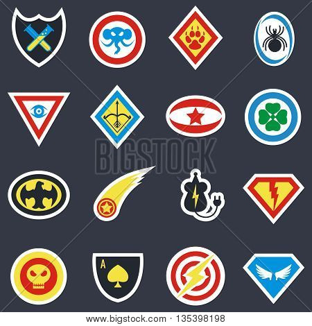 Superhero color vector badges, emblems, logos. Superhero insignia, superhero protection, shield superhero, badge hero power illustration
