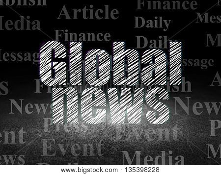 News concept: Glowing text Global News in grunge dark room with Dirty Floor, black background with  Tag Cloud