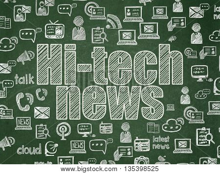 News concept: Chalk White text Hi-tech News on School board background with  Hand Drawn News Icons, School Board