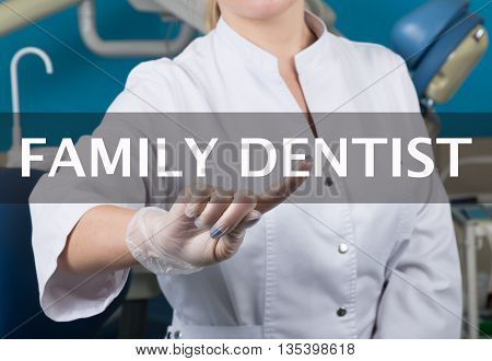 technology, internet and networking in medicine concept - medical doctor presses family dentist button on virtual screens. Internet technologies in medicine.