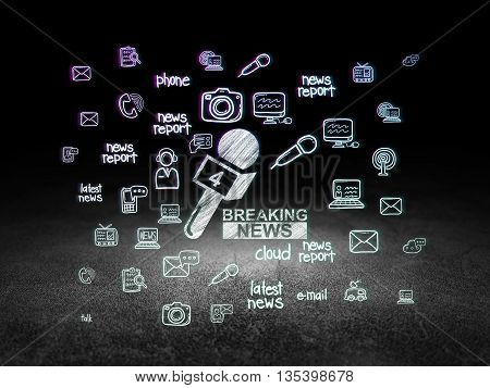 News concept: Glowing Breaking News And Microphone icon in grunge dark room with Dirty Floor, black background with  Hand Drawn News Icons