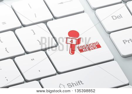 News concept: Enter button with Breaking News And Microphone on computer keyboard background, 3D rendering