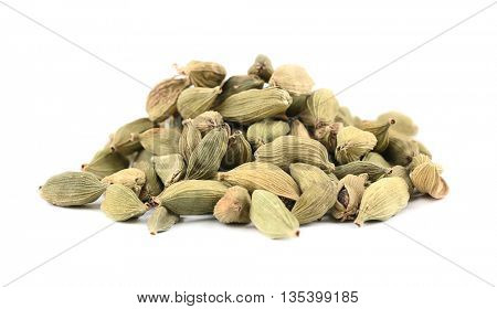 Cardamom seeds isolated on white