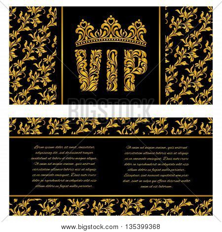 The luxurious design of the booklet. Inscription VIP of floral decorative pattern. There is a place for text.