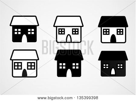a set of simple omage of private home in black and whate color