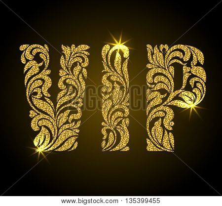 Vip Inscription Of Floral Decorative Pattern. Letters With Gold Glitter On A Black Background.