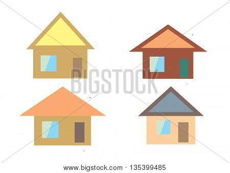 a set of private houses of different colors and size