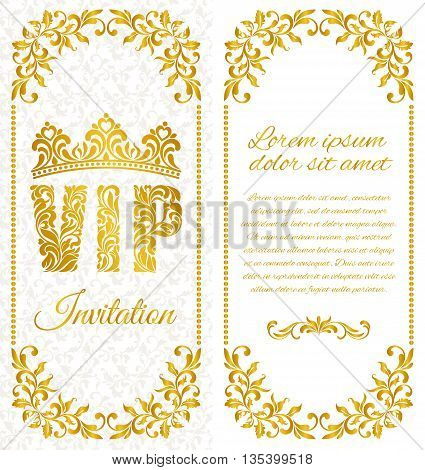 The Luxurious Design Of The Flyer. Inscription Vip Of Floral Decorative Pattern On A White Backgroun