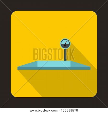 Parking scales icon in flat style on a yellow background