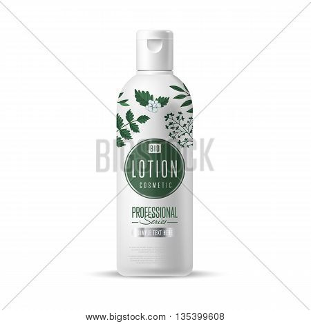 Organic cosmetic brand of lotion vector packaging template, body care product. Realistic bottle mock up isolated on white background.