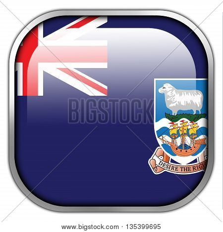 Flag Of Falkland Islands, Square Glossy Button