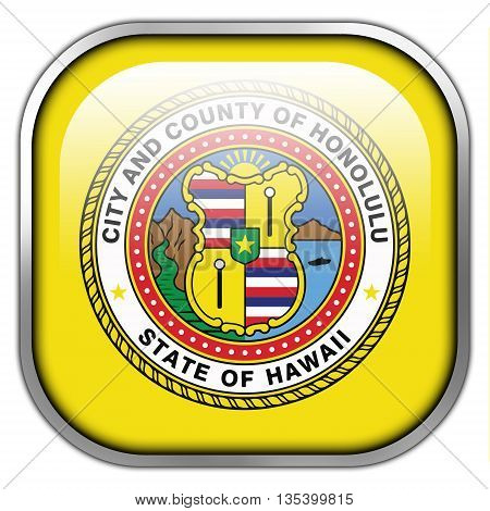 Flag Of Honolulu, Hawaii, Square Glossy Button