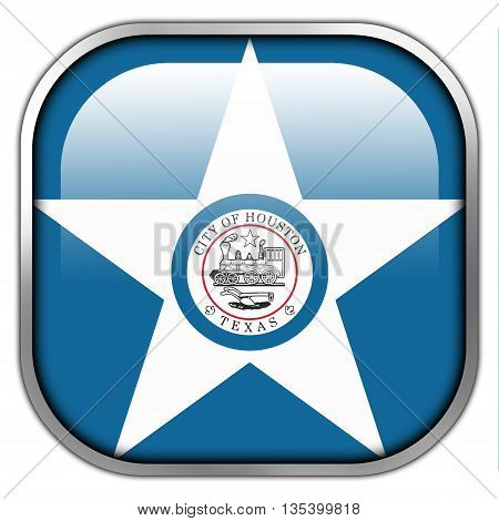 Flag Of Houston, Texas, Square Glossy Button