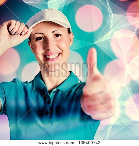 Sportswoman posing on black background against abstract black background