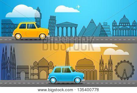 Take Vacation travelling concept. Flat design illustration. Retro car voyage