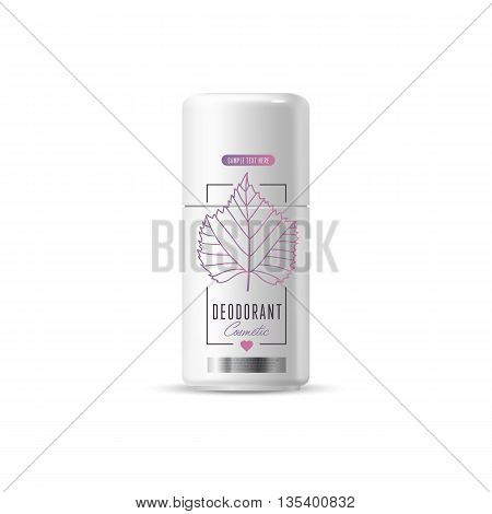 Harmony organic cosmetic brand of deodorant, vector packaging template, body care product. Realistic bottle mock up set, isolated pack on white background.