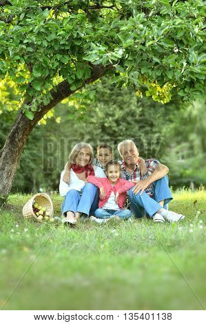 Happy Family resting in a summer park with apples