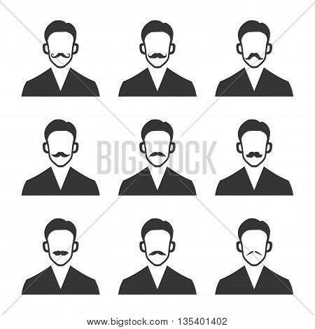 Hipster With Mustache Set on White Background. Vector illustration