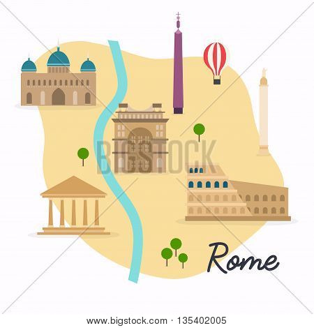 Rome. Travel Map And Vector Landscape Of Buildings And Famous Landmarks. Vector Illustration.
