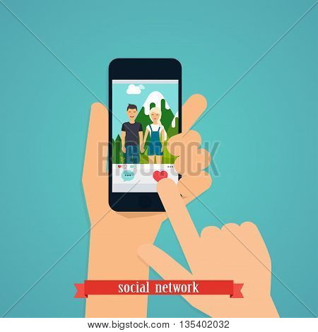 Human hand finger pressing pressing like (love) button on a phone with social media app. Social Network Vector Concept. Communication Systems and Technologies.