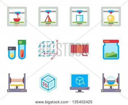 Printing 3D flat vector icons set. Technology printing graphic, prototype 3d printing, icon 3d model printing illustration