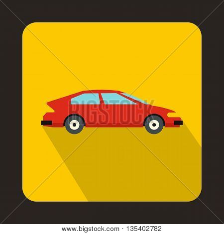 Red car icon in flat style on a yellow background