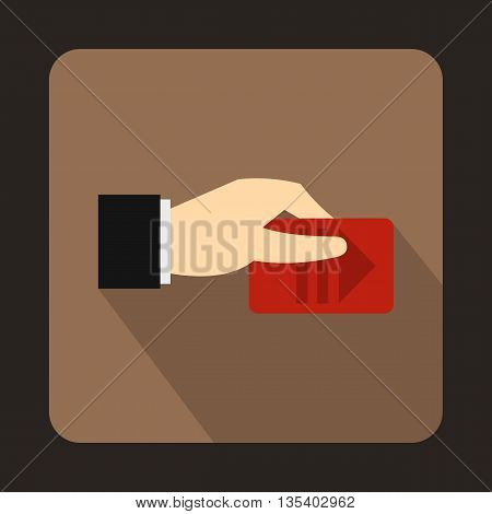 Hand with parking ticket icon in flat style on a brown background