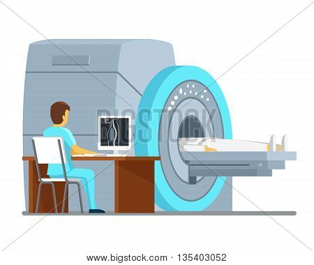 MRI scan and diagnostics. Health and care vector concept. Diagnostic mri patient, hospital mri, scan mri technology. Vector illustration