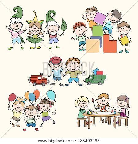 Childrens in kinder garden hand drawn vector. Children garden, happy children, fun children illustration